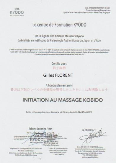 Certificat initiation Kobido